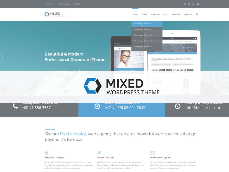 mixed modern and professional wordpress theme